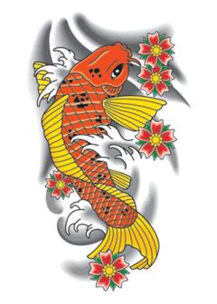 Tattoos on Orange Koi Removeable Tattoo