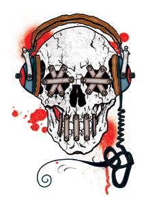 Totenkopf mit Kopfhörer - entfernbare Tattoos