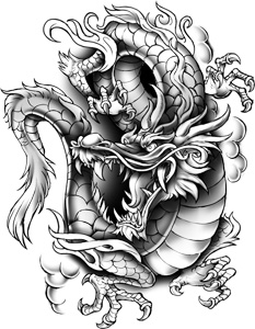 classic urban dragon sticker tattoo. Black Bedroom Furniture Sets. Home Design Ideas